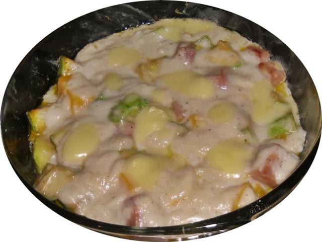 Calabacines  con jamón y queso en salsa bechamel 2