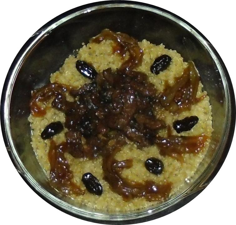 Cus cus de quinoa con carne cebolla pasas y miel - Carne con ciruelas pasas ...