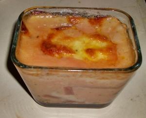 Pasticho  (lasagna) de remolachas  despues de haber sido gratinada