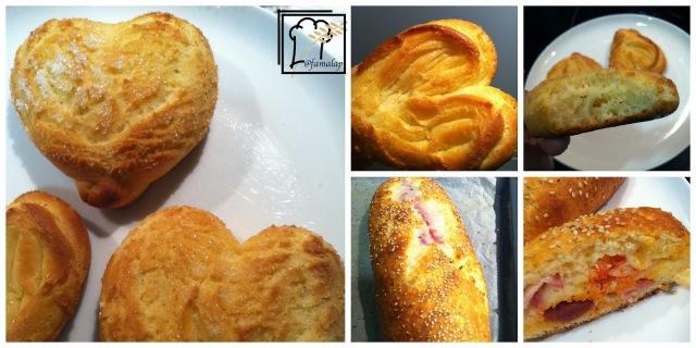 Collage pan relleno y pan corazón