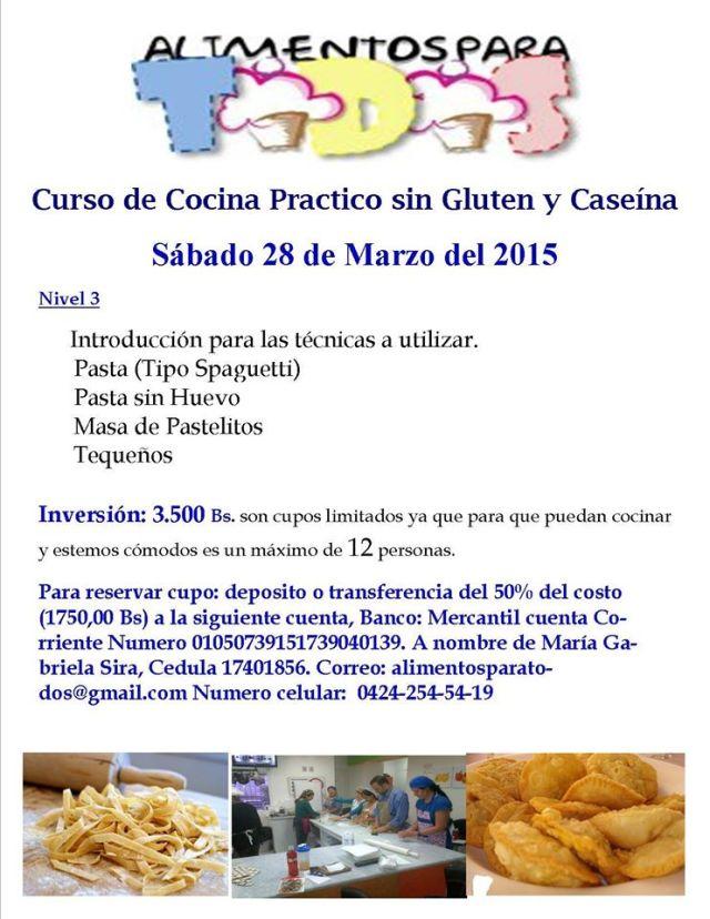 Curso pastas 28 marzo en Caracas